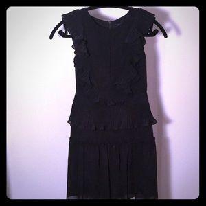 BCBG short black ruffle dress